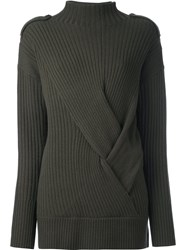 Rag And Bone Ribbed Mock Neck Jumper Green