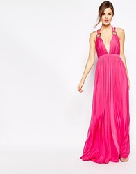 Forever Unique Cindie Plunge Neck Maxi Dress Pink