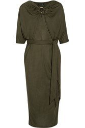 Amanda Wakeley Draped Jersey Midi Dress Green