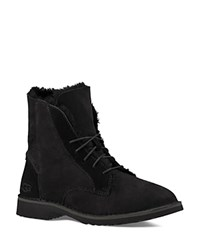 Ugg Quincy Leather And Sheepskin Lace Up Booties Black