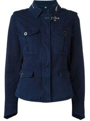 Fay Fitted Military Jacket Blue