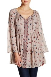 Want And Need Long Sleeve Ebbroidered Babydoll Peasant Tunic Pink