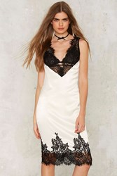 Nasty Gal One Smart Cookie Satin Dress White