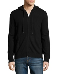 Vince Cashmere Hooded Zip Front Sweatshirt Heather Black
