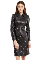 Alexander Wang Fitted Leather Coat Black