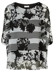 Windsmoor Stripe And Floral Print Top Black White