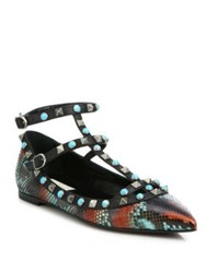 Valentino Rockstud Rolling Python And Leather Cage Flats Red Multi