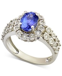 Macy's Tanzanite 1 1 5 Ct. T.W. And Diamond 1 4 Ct. T.W. Ring In 14K White Gold Purple