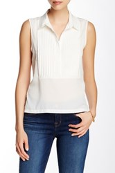 French Connection Pleat Front Collar Tank White