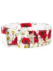 Dolce And Gabbana Daisy And Poppy Print Belt White