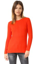 525 America Panel Rib Crew Neck Sweater Tangerine