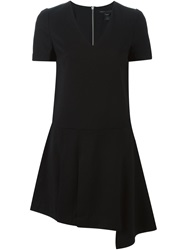 Marc By Marc Jacobs Asymmetric Detail V Neck Dress Black