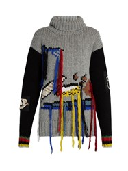 Joseph Fruit Embroidered Wool Sweater Grey Multi