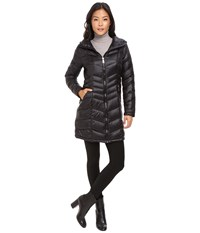 Calvin Klein Long Hooded Packable Down With Waist Detail Black Women's Coat