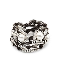 Uno De 50 Pearl And Bead Layered Bracelet Silver