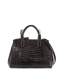 Nancy Gonzalez Medium Knots Crocodile Top Handle Bag Black