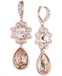 Givenchy Rose Gold Tone Crystal Flower Teardrop Drop Earrings Pink