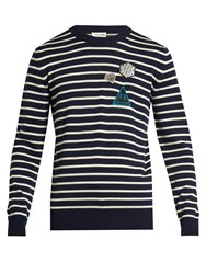 Saint Laurent Badge Applique Striped Wool Sweater Navy White