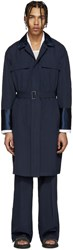 Umit Benan Navy Cotton Lightweight Trench Coat
