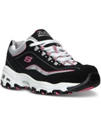 Skechers Women's D'lites Life Saver Wide Width Running Sneakers From Finish Line Black White Pink