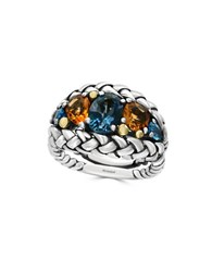Effy Topaz Citrine And 18K Goldplated Sterling Silver Braided Ring