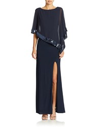 Xscape Evenings Petite Draped Sheath Gown Lovely Navy