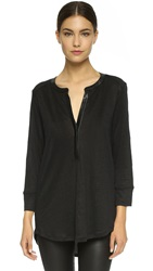 Vince Leather Contrast Tunic Black