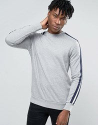 New Look Sweatshirt In Grey With Tape Sleeve Detail Grey