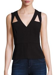Bcbgmaxazria Sleeveless Cutout Peplum Top Black