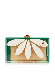 Charlotte Olympia Pandora Loves Me Perspex Clutch Green White