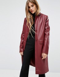 First And I Faux Leather Trench Coat Wine Purple