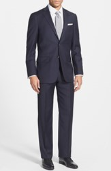 Men's Big And Tall Hart Schaffner Marx 'New York' Classic Fit Wool Suit Navy