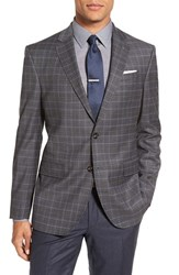 Ted Baker Men's London 'Jay' Trim Fit Plaid Stretch Wool Sport Coat Grey