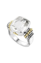 Women's Lagos 'Caviar Color' Medium Semiprecious Stone Ring White Topaz