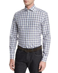 Ermenegildo Zegna Plaid Long Sleeve Sport Shirt Beige