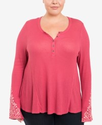 Eyeshadow Trendy Plus Size Waffle Knit Henley Dark Pink