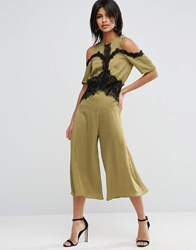 Asos Satin Jumpsuit With Cold Shoulder And Lace Detail Olive Green