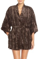 Natori Faux Fur Robe Brown