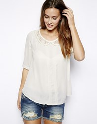 Mina Blouse With Lace Collar White