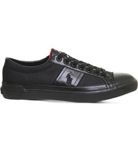 Ralph Lauren Churston Cotton And Leather Trainers Black