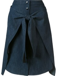 Rag And Bone Front Tie Denim Skirt Blue
