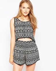 Influence Geo Tribal Cropped Top Black