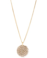 Kenneth Cole New York Gold Tone Faceted Woven Bead Pendant Necklace
