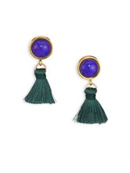 Lizzie Fortunato Tiny Lapis Tassel Earrings