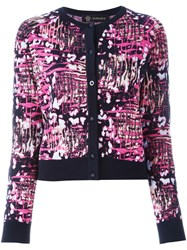 Versace Bleached Leopard Print Cardigan Pink And Purple