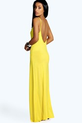 Boohoo Strappy Low Back Maxi Dress Yellow