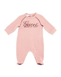 Gucci Long Sleeve Logo Footie Pajamas Lovely Rose Berry Dark Berry