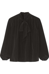 Co Pussy Bow Silk Crepe De Chine Blouse Black