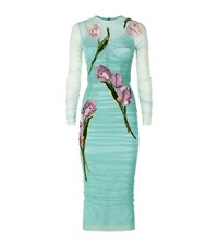 Dolce And Gabbana Ruched Applique Dress Female Turquoise