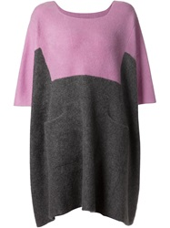 The Elder Statesman Colour Block Sweater Dress Pink And Purple